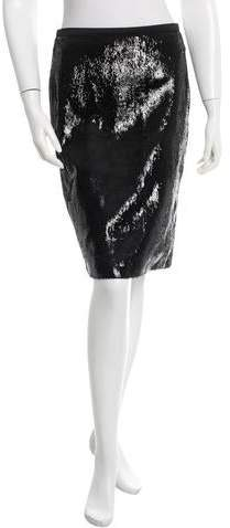 Tom Ford Leather Knee-Length Skirt. w/ Tags