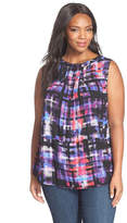 NYDJ Print Pleat Back Sleeveless Blouse (Plus Size)
