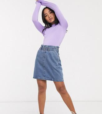Noisy May Petite denim paperbag mini skirt in mid blue