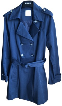 Pinko Blue Cotton Trench Coat for Women