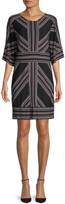 BCBGMAXAZRIA Striped Three-Quarter Sleeve Shift Dress