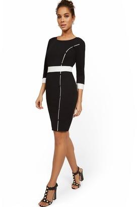 New York & Co. Work Leisure Pom-Front Sheath Dress - Magic Crepe