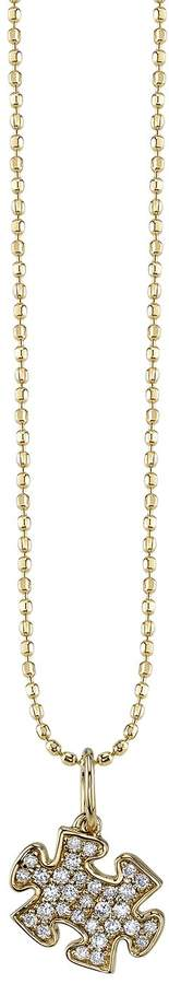 Sydney Evan Yellow Gold and Diamond Puzzle Piece Necklace