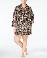 Miss Elaine Plus Size Plush Fleece Zip-Front Short Robe
