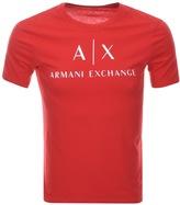 Armani Exchange Crew Neck Logo T Shirt Red