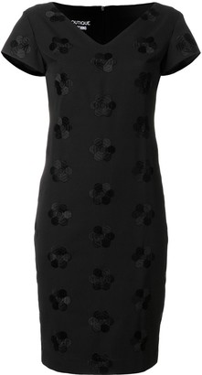Boutique Moschino V-Neck Floral Embroidered Dress