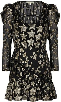 LoveShackFancy Caden black fil coupe silk-chiffon mini dress