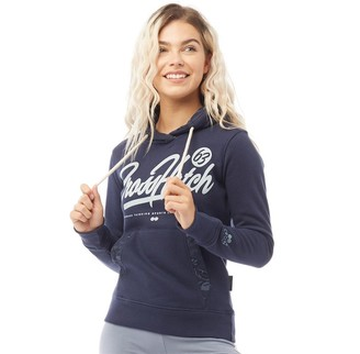 Crosshatch Womens Tamera Flower Trim LDS Hoodie Navy