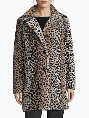 Betty Barclay Faux Fur Animal Print Coat, Camel/Black