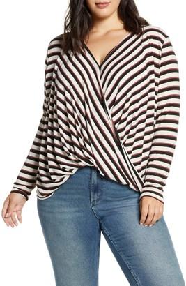 Vero Moda Kia Honie Striped Long Sleeve Draped Top (Plus Size)