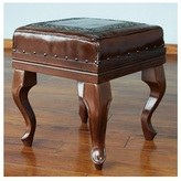 Novica Handcrafted Leather and Cedar Wood 'Inca Guardian' Ottoman (Peru)
