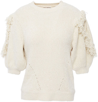 Ulla Johnson Noor Fringe-trimmed Ribbed Silk And Cotton-blend Sweater