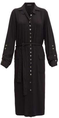 Ann Demeulemeester Rivale Buttoned Belted Twill Shirt Dress - Womens - Black