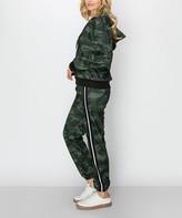 Kimberly C Women's Casual Pants Olive - Olive Camo Fleece Zip-Up Hoodie & Side-Stripe Joggers - Women