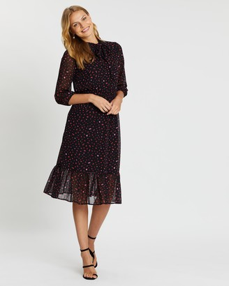 Dorothy Perkins Heart Pussybow Frill Hem Dress