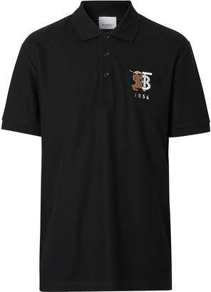Burberry contrast logo graphic cotton pique polo shirt