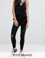 New Look Petite Distressed Raw Hem Jeans
