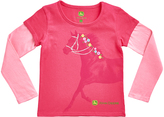 John Deere Magenta & Pink Horse Layered Tee - Girls