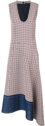 Derek Lam Low Neck Gauze Check Dress with Asymmetric Hem