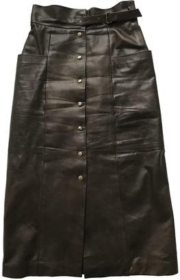 Alberta Ferretti Brown Leather Skirt for Women Vintage