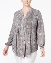 Melissa McCarthy Trendy Plus Size Printed Bishop-Sleeve Blouse
