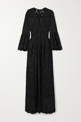 Costarellos Rusie Embroidered Silk, Linen And Cotton-blend Gown - Black