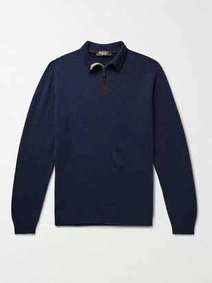 Loro Piana Suede-Trimmed Cashmere Half-Zip Sweater