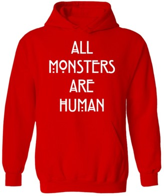 Flip Womens All Monsters are Human Slogan Pullover Hoodie Red UK 12 (W-M)