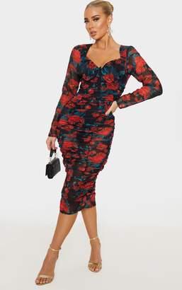 PrettyLittleThing Black Rose Print Mesh Ruched Underwire Midi Dress