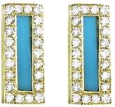 Jennifer Meyer Diamond Turquoise Inlay Bar Stud Earrings - Yellow Gold