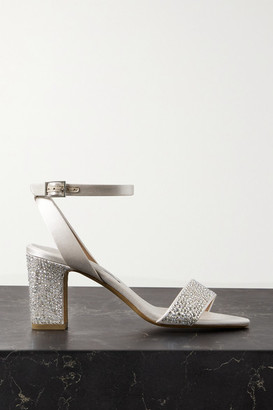 Tabitha Simmons Leticia Swarovski Crystal-embellished Satin Sandals - Neutral