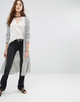 Free People Smile Like You Longline Cardigan In Stripe