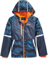 London Fog Hooded Camo-Print Colorblocked Windbreaker Jacket, Big Boys (8-20)