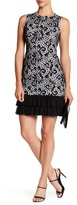 Donna Ricco Lace Pleated Ruffle Hem Dress