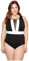 LaBlanca La Blanca Plus Size Block My Way Over the Shoulder Plunge One-Piece