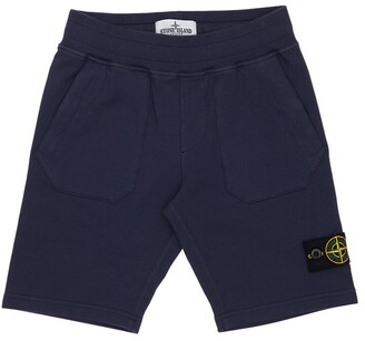 Stone Island Cotton Sweat Shorts W/ Logo Patch