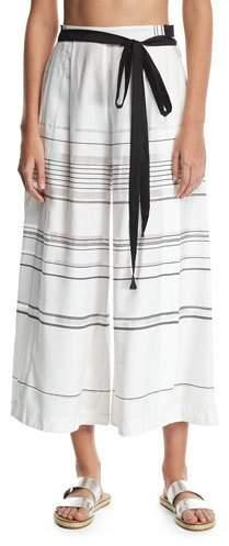 Proenza Schouler High-Waist Striped Palazzo Coverup Pants