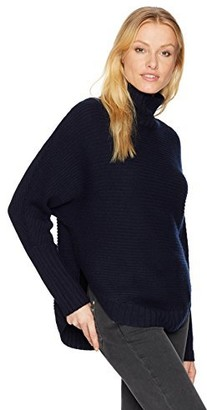 Three Dots Women's Funnel Neck Loose Mid Sweater
