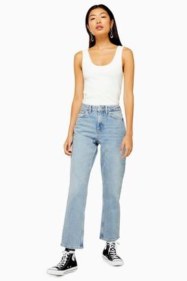 Topshop Womens Bleach Clean Hem Straight Jeans - Bleach Stone