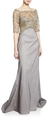 Tadashi Shoji Off-the-Shoulder Elbow-Sleeve Taffeta Gown with Corded Lace Overlay