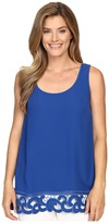 Adrianna Papell Crepe Tank Blouse with Embroidered Border