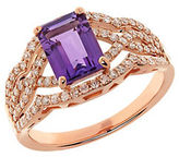 Lord & Taylor Amethyst, Diamond and 14K Rose Gold Ring