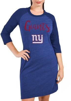 Majestic Women's Threads Blue New York Giants Tri-Blend 3/4-Sleeve Raglan Dress