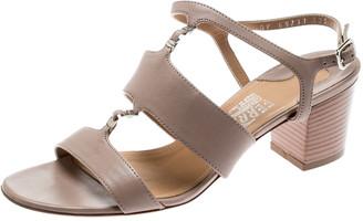 Salvatore Ferragamo Beige Leather Block Heel Open Toe Sandals Size 36.5
