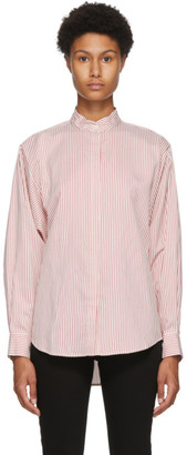 Isabel Marant Red and White Silk Cade Shirt