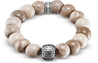 Thomas Sabo Power Skull Sterling Silver Men's Bracelet w/Jasper Beads