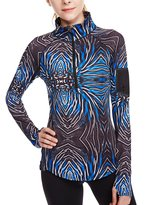 icyzone Women's Workout Yoga 1/2 Zip Long Sleeve Running and Training Shirt (L, )