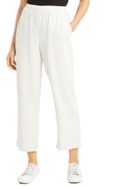 Eileen Fisher System Silk Pull-on Straight Ankle Pants