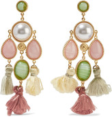 Ben-Amun Gold-plated, faux pearl, stone and tassel earrings