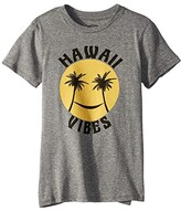 Tiny Whales Hawaii Vibes Short Sleeve Tee (Infant/Toddler/Little Kids/Big Kids) (Tri Grey) Kid's Clothing